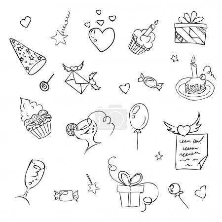 Illustration for Birthday hand drawn sketch icons eps 8 - Royalty Free Image