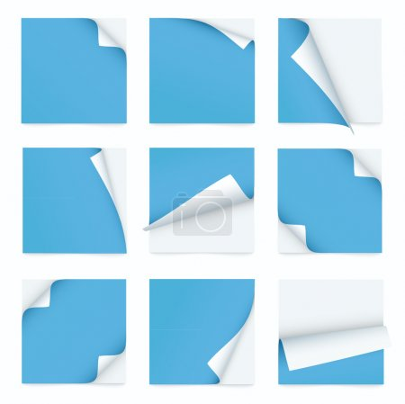 Illustration for Blue set of note paper with curled corner - Royalty Free Image