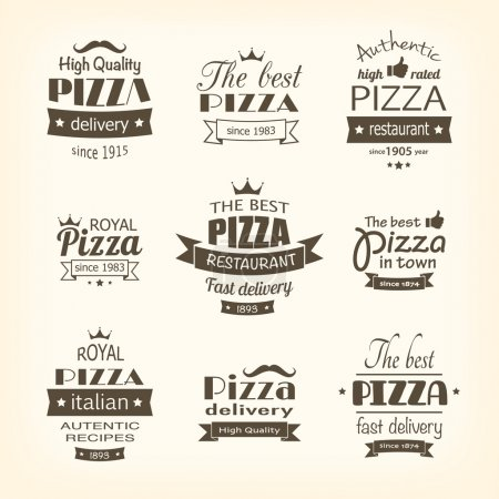 Illustration for Set of premium quality pizza labels eps8 - Royalty Free Image
