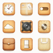set of textured wooden paper and leather app icons on rounded co