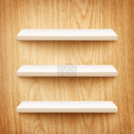 realistic white shelves on wooden wall