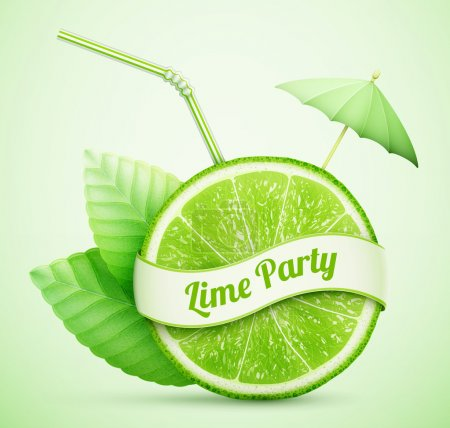 Illustration for Fresh lime with ribbon and cocktail stick eps10 vector illustration - Royalty Free Image