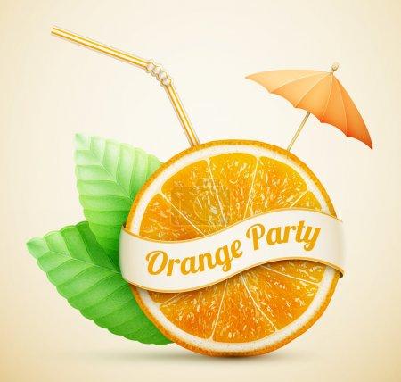 Illustration pour Orange fraîche avec ruban et bâton de cocktail eps10 illustration vectorielle - image libre de droit