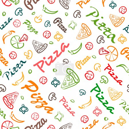 pizza seamless pattern with hand drawn elements