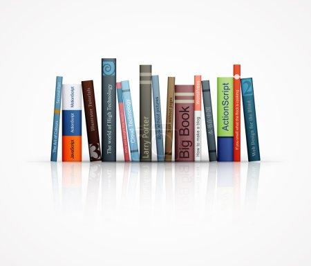 Illustration for Row of books on white background eps10 vector illustration - Royalty Free Image