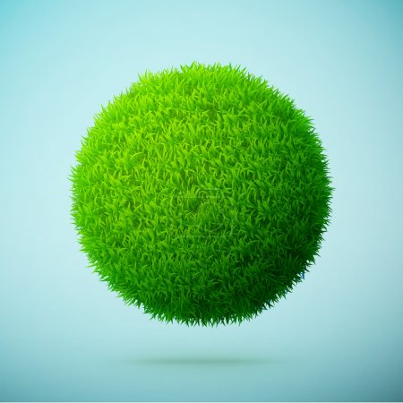Illustration for Green grass sphere on a blue clear background eps10 vector illustration - Royalty Free Image