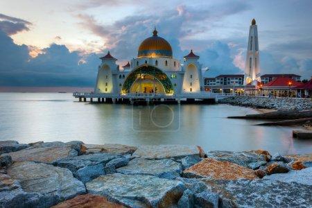 Malacca Straits Mosque, Malaysia at sunset