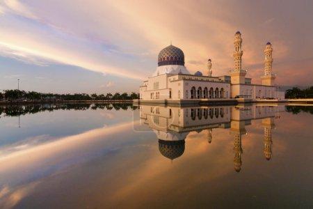 Kota Kinabalu mosque reflection at sunset in Sabah, Borneo, Malaysia