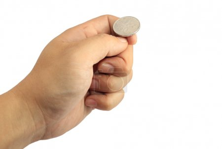 Photo for Hand ready to flip coin - Royalty Free Image