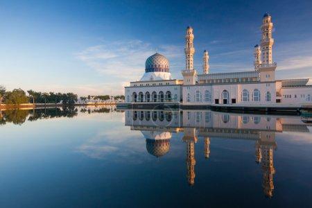 Reflection of Kota Kinabalu mosque at Sabah, Borneo, Malaysia