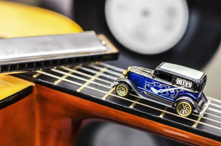 Photo for Blues Vintage Car Miniature - Royalty Free Image