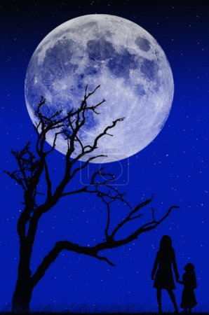 Illustration for Moonlight shadow card - Royalty Free Image