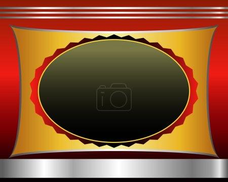 Red black gold-framed labels