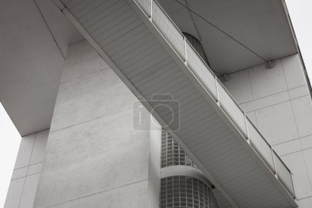Photo for Architectural detail of a modern building with suspended passage - Royalty Free Image