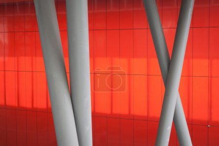 Photo for Architectural detail of a modern building with orange background - Royalty Free Image