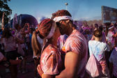 People at The Color Run event in Milan, Italy