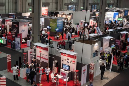 Photo for MILAN, ITALY - OCTOBER 23: Top view of people and booths at Smau, international exhibition of information communications technology on OCTOBER 23, 2013 in Milan. - Royalty Free Image