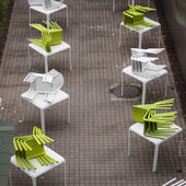 Top view of chairs on tables at Weekend Donna 2013 in Milan, Italy