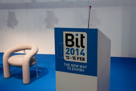 Empty conference room at Bit 2014, international tourism exchange in Milan, Italy