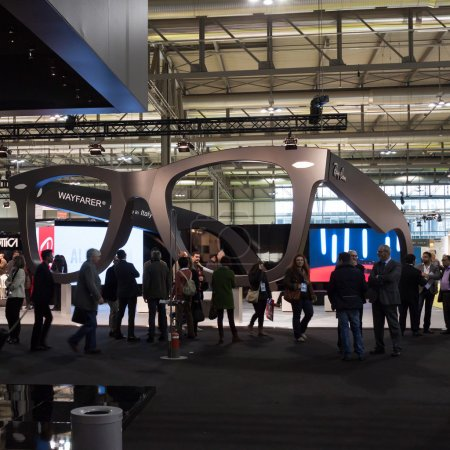 People visiting Mido 2014 in Milan, Italy