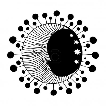 Illustration for Moon illustration with stars within black circle silhouette - Royalty Free Image