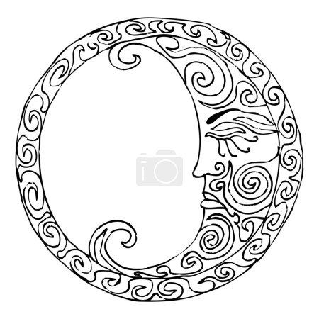Illustration pour Illustration lunaire - dessin à la main vectorisé - noir sur fond blanc simple - image libre de droit