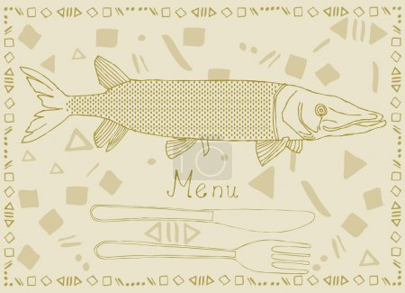 Fish menu card- Pike. Card with fork, knife and ty...