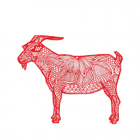Illustration for Illustration of red goat with floral decoration on simple white background- Chinese zodiac. - Royalty Free Image