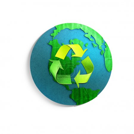 Environmental concept. Paper cut illustration. Earth globe with recycle symbol