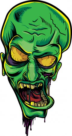 Illustration for Screaming green zombie. Halloween poster - Royalty Free Image