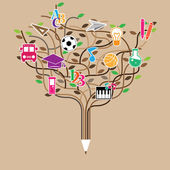 Pencil tree shaped made with school icons set illustration Vect