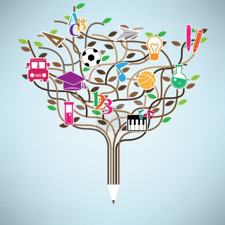 Pencil tree shaped made with school icons set illustration. Vect