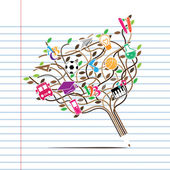 Pencil tree shaped made with school icons set illustration Vector illustration layered for easy manipulation and custom coloring