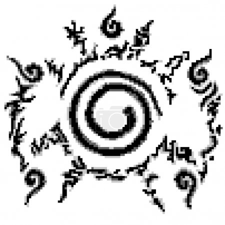 Conjugate Nine-tailed fox in Cartoon Naruto pattern style 8 bit.