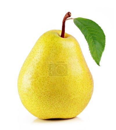 Fresh yellow pear on white background...