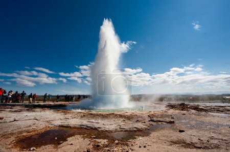 Geyser in Iceland while blowing water...