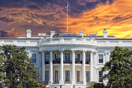 Photo for White House on deep blue sky background - Royalty Free Image