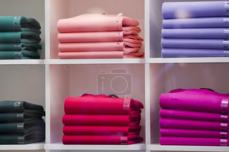 Photo for Multi Color wool sweater inside a shop - Royalty Free Image