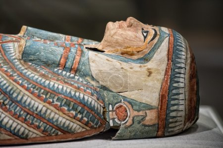 Egyptian wood painted ancient sarcophagus...