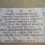 Marble inscription of XV century inside medieval c...