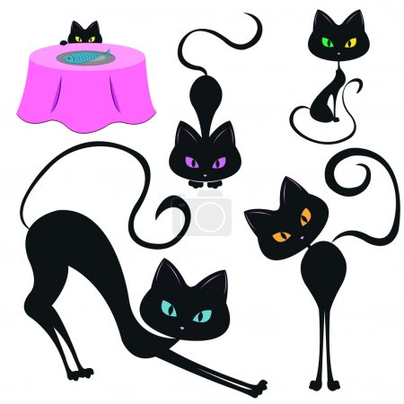 Set of funny black cats