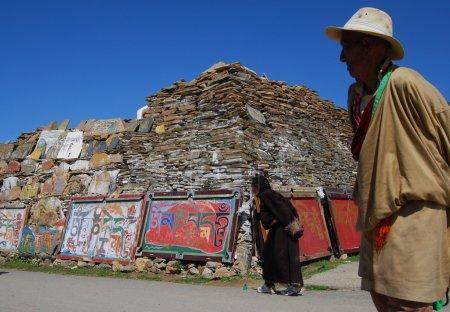 Mani stone in Tibet