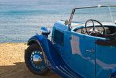 Retro blue car