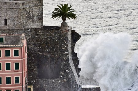 The castle of Camogli during a sea storm