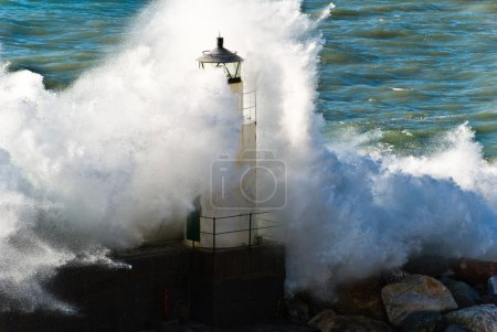lighthouse during a seastorm