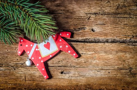 Christmas decoration on wood