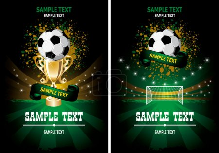 Illustration for Football poster with champion cup and place for your text - Royalty Free Image