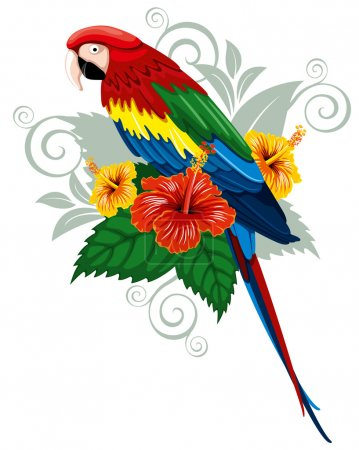 Parrot and tropical flowers