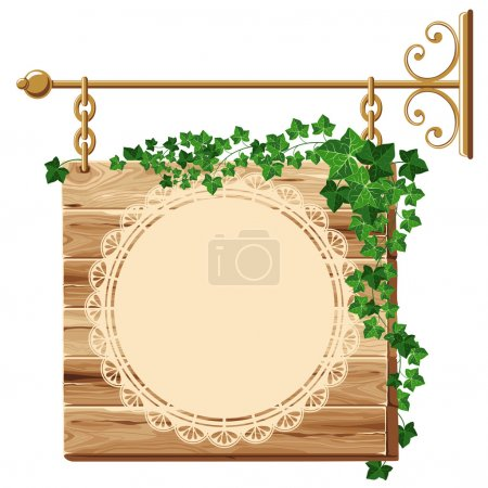 Wooden sign with ivy