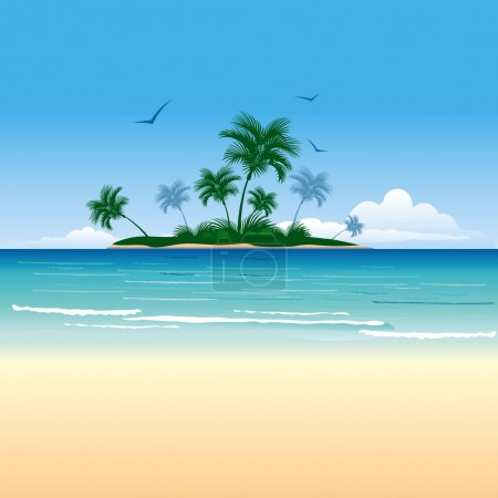 Illustration for Tropical island with palm trees - Royalty Free Image